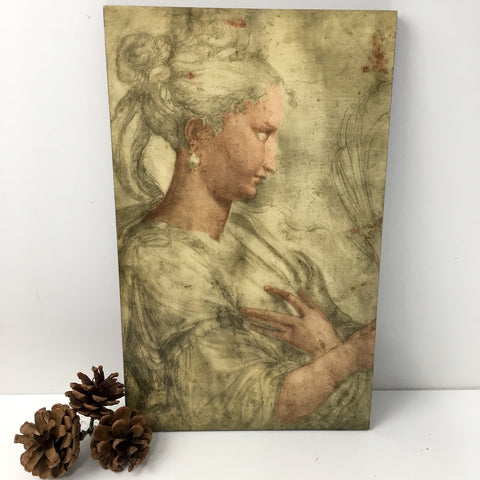 Italian decoupage print - pencil study on lightweight board - vintage Florentine decor - NextStage Vintage