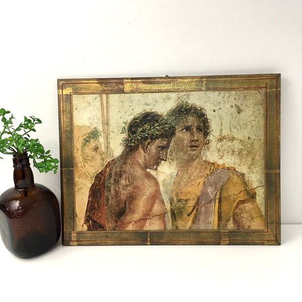 Florentine print by Fratelli Alinari - reproduction of roman youths - gilt gesso board - NextStage Vintage