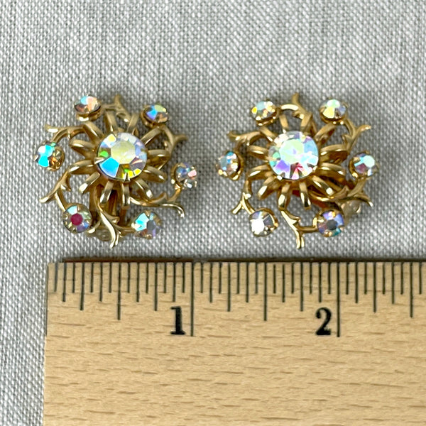 Round floral earrings with AB rhinestones - 1960s vintage - NextStage Vintage