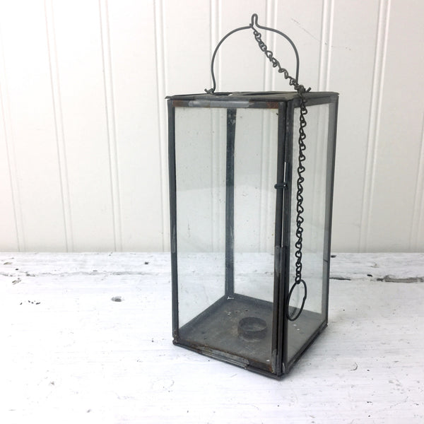 Antique tin folding candle lantern - travel and camping vintage - NextStage Vintage