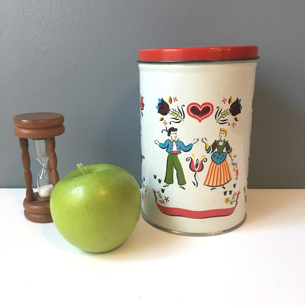 Folk art litho metal canister - primary colors - 1950s vintage kitchen storage - NextStage Vintage
