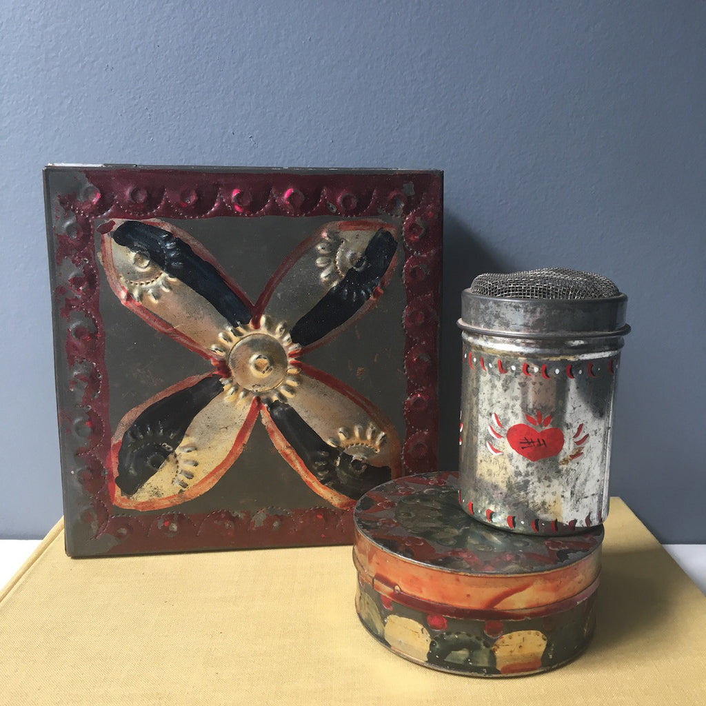 Red and black folk art tins - set of 3 - vintage shabby folk decor - NextStage Vintage