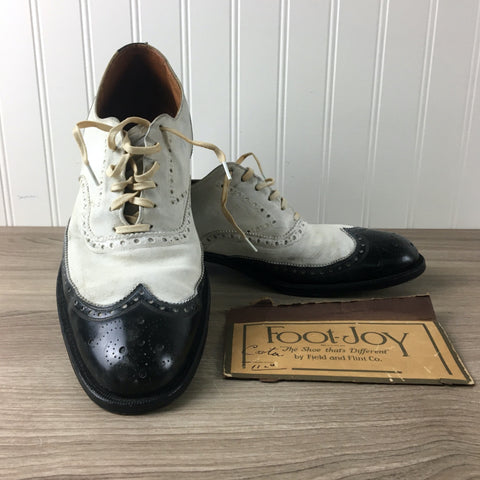 FootJoy black and white shield tip brogues - mens vintage size 10 AA/A