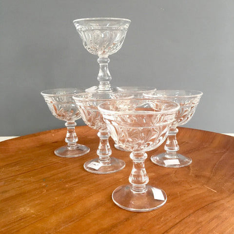 Fostoria Colony footed cocktail glasses - set of 6 - mid century vintage - NextStage Vintage