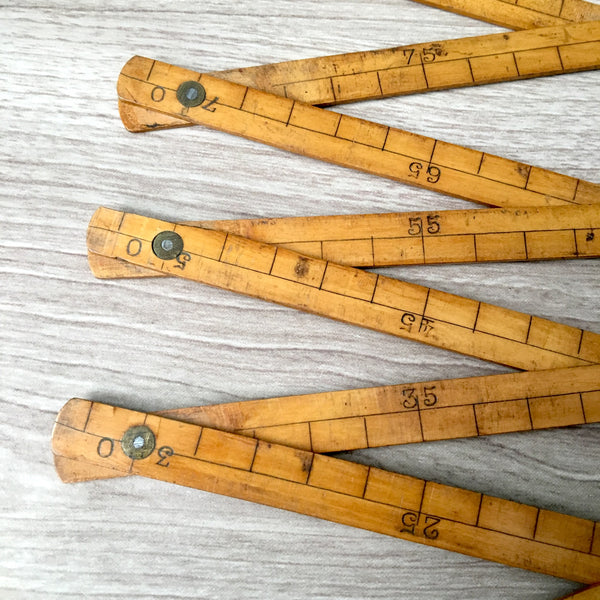 Antique French wood and brass folding metre rule - NextStage Vintage