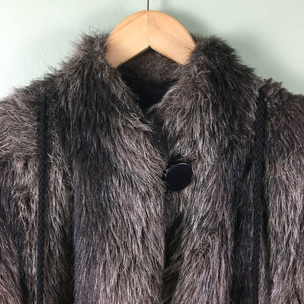 Faux fur jacket with matching mittens by Furrina - 1980s vintage coat