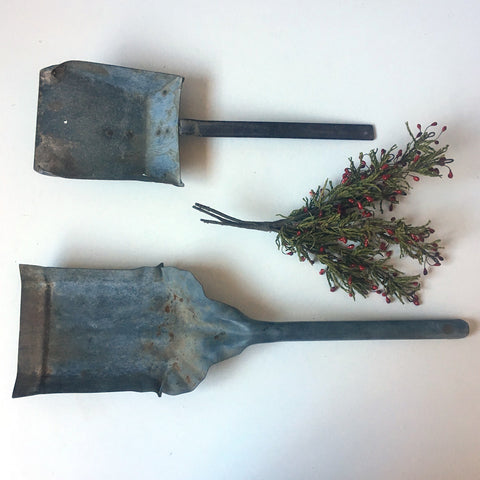Galvanized utility shovels - vintage metal decor