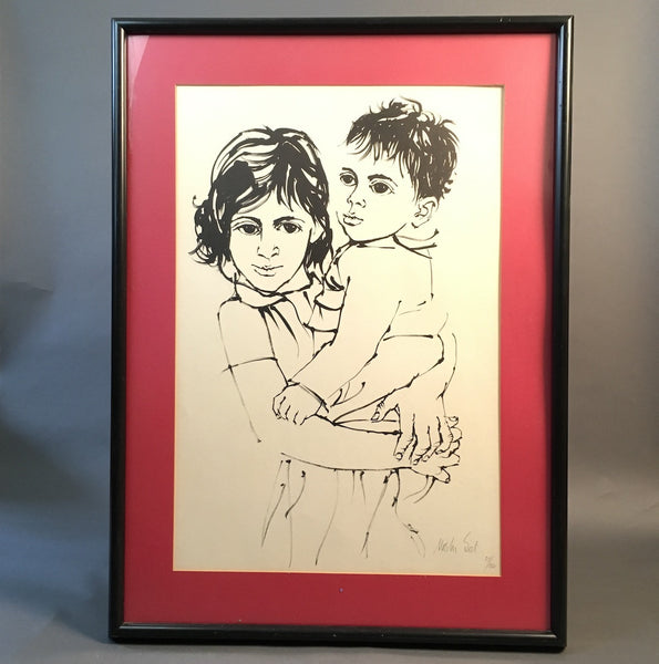 Brother and Sister - Moshe Gat signed and numbered print - vintage 1960s Israeli art - NextStage Vintage