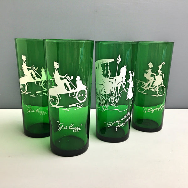 Anchor Hocking Gay Nineties coolers - set of 4 - forest green - 1950s vintage - NextStage Vintage