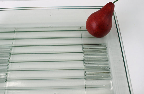 Glass refrigerator drip tray - heavy glass pan used catch drips from the freezer - 1940s - NextStage Vintage