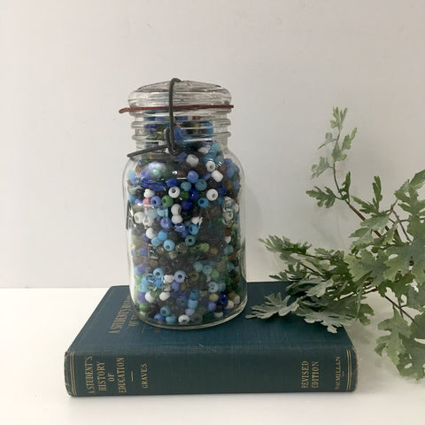 Glass pony beads - 2.5 Lb of beads in a vintage Atlas canning jar - NextStage Vintage