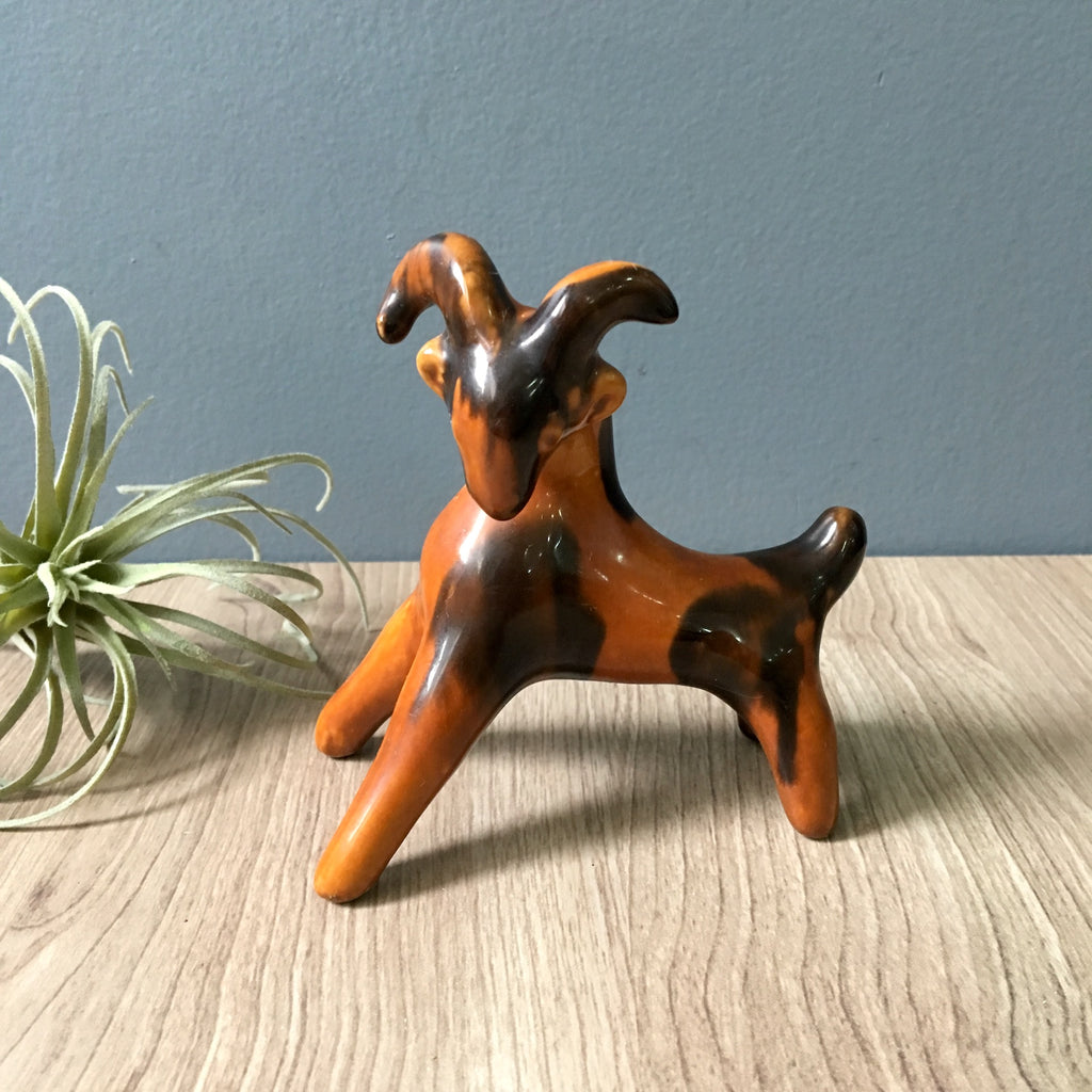Brown faience pottery goat - vintage European ceramic figure