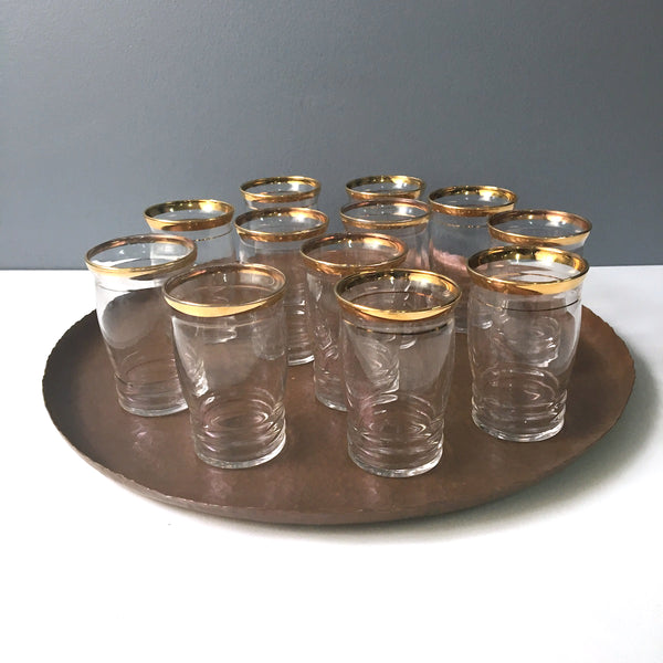 Flat juice or liqueur glasses with gold bands - set of 12 - vintage 1960s barware - NextStage Vintage