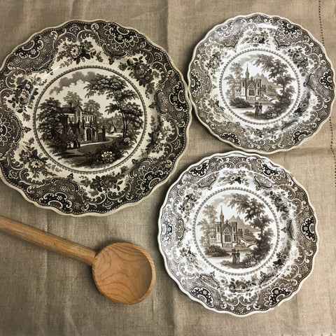 Gothic Beauties transferware by T. Ingleby - 3 antique Staffordshire plates - NextStage Vintage