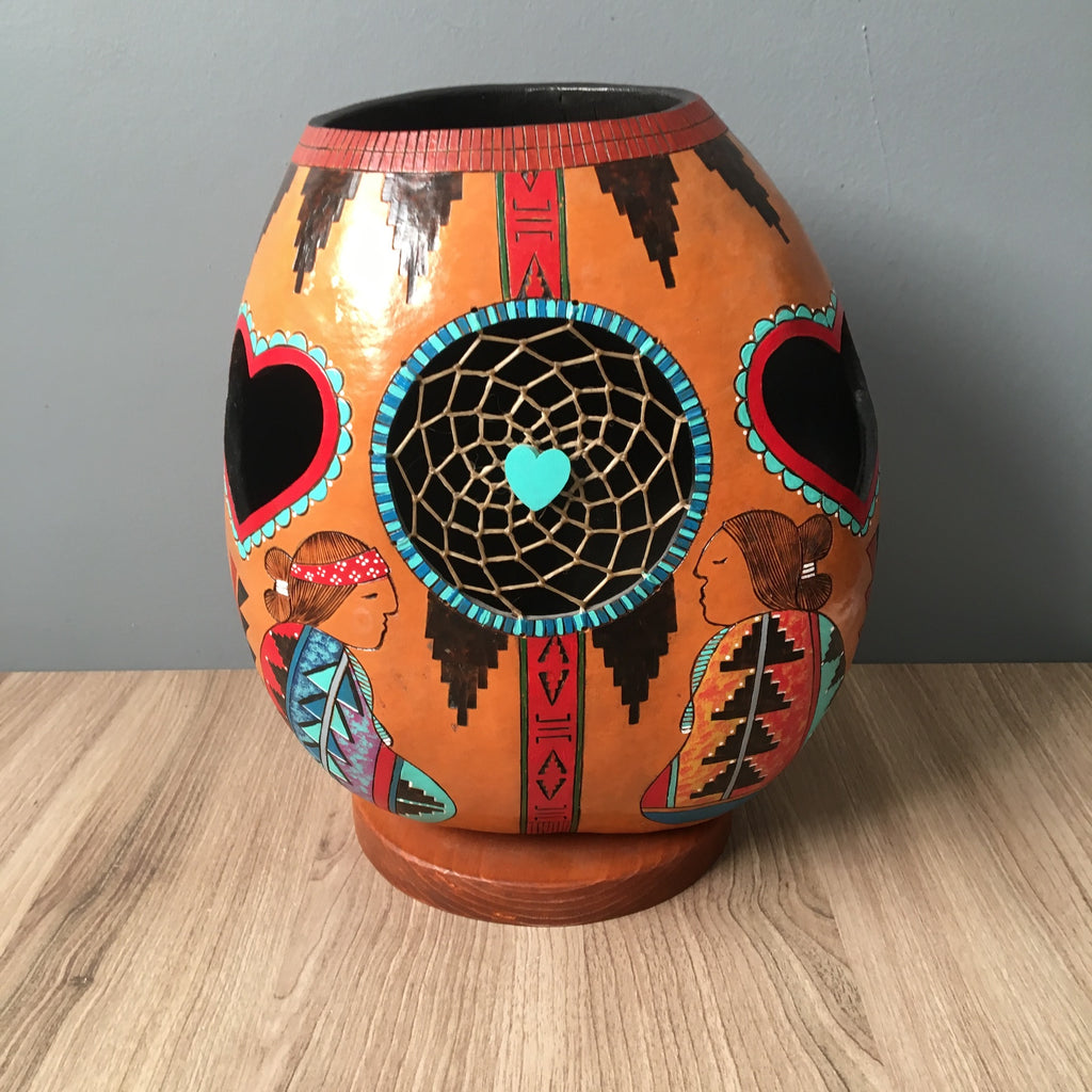 Sweethearts Forever gourd art by Native American artist Howard Bahe Lewis - NextStage Vintage