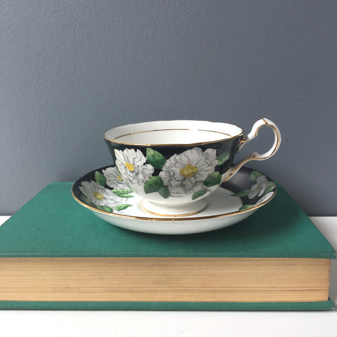 Royal Grafton Dinant tea cup white and black floral - 6749 English bone china - 1960s - NextStage Vintage