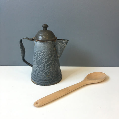 Gray swirl graniteware coffee pot - rustic antique decor - NextStage Vintage