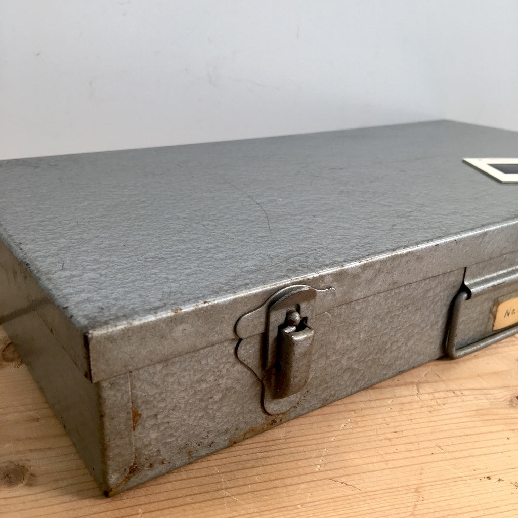 ... Gray Metal 35mm Slide Storage Box   Suitcase Style Box For Slide Or  Craft Storage ...