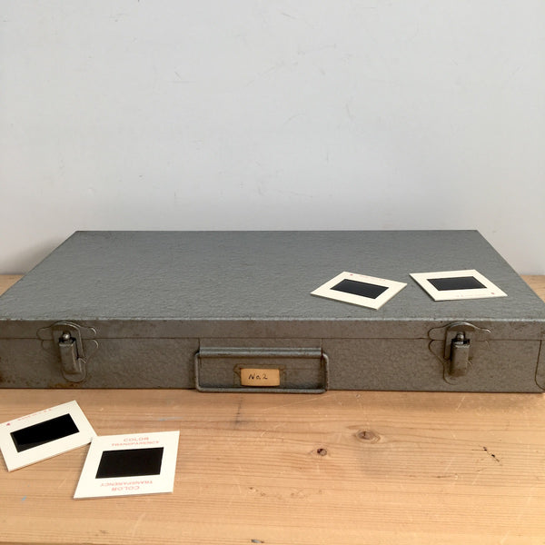 Gray metal 35mm slide storage box - suitcase style box for slide or craft storage - 1950s - NextStage Vintage