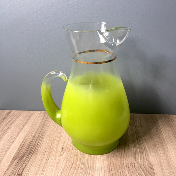 Spring green Blendo pitcher and 10 tumbler set by West Virginia Glass - 1960s vintage - NextStage Vintage