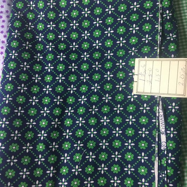 Calico cotton collection - 3.25 yd - purple flowers, green gingham & green floral- 1980s - NextStage Vintage