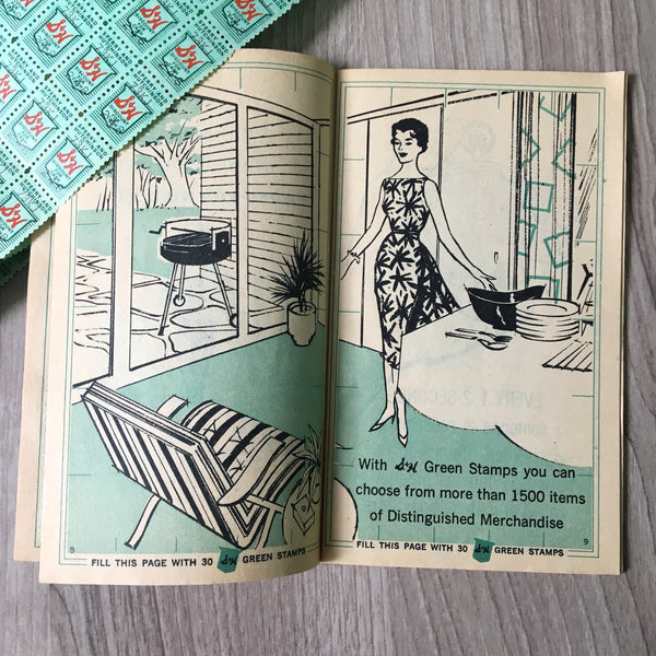 S&H Green Stamps booklet - 1960s vintage grocery stamp book - NextStage Vintage