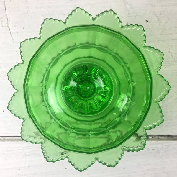 Fenton Spring Green Colonial covered candy dish - #8488 - 1970s vintage - NextStage Vintage
