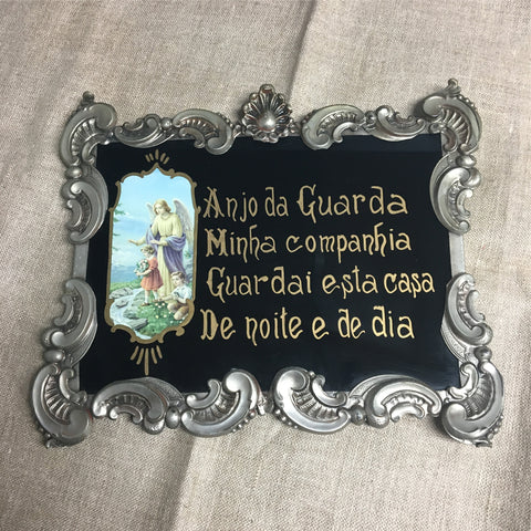 Portuguese guardian angel prayer in tooled metal frame - vintage religious art - NextStage Vintage