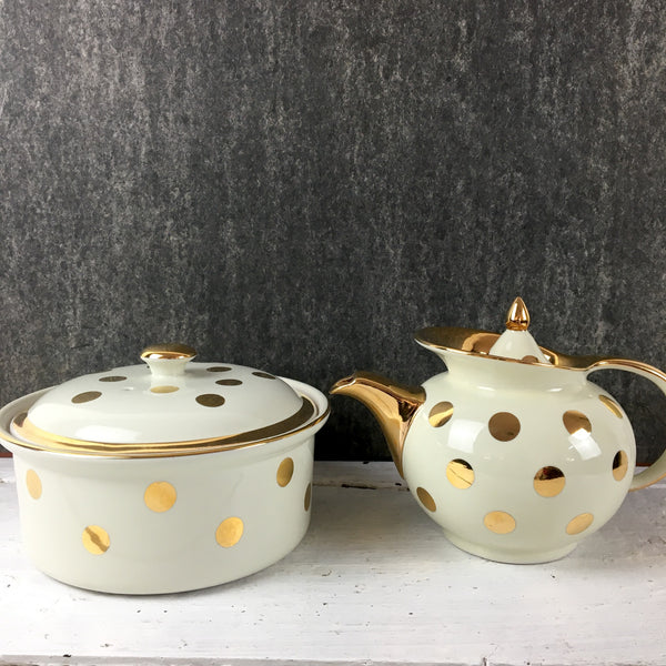 Hall gold polka dot teapot and covered casserole - 1940s vintage