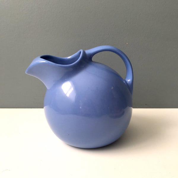 Hall pottery ball pitcher with ice lip #633 - cadet blue - vintage pottery