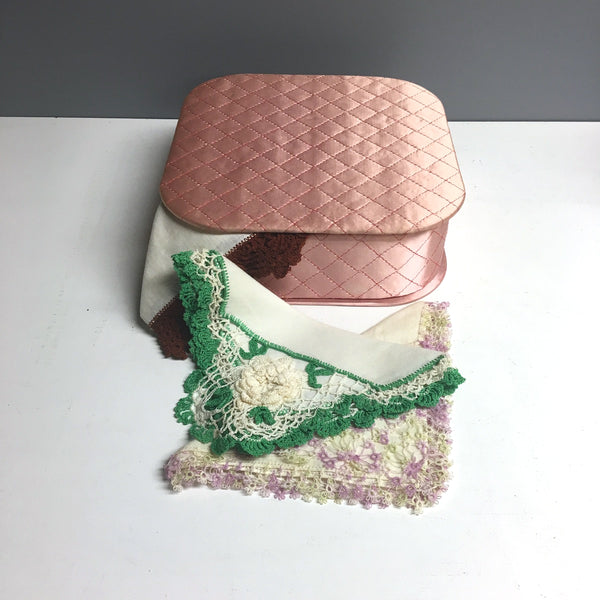 Satin handkerchief box with 3 exquisite hankies - 1950s vintage - NextStage Vintage