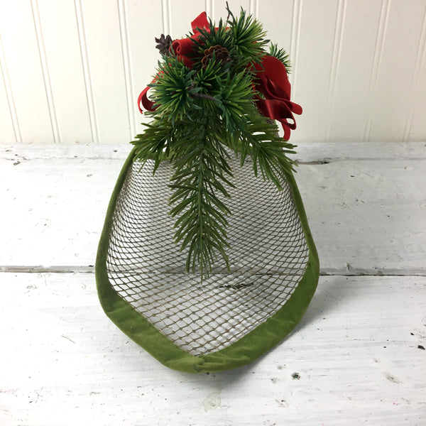 Hardware cloth Christmas basket - 1960s vintage handmade decor - NextStage Vintage