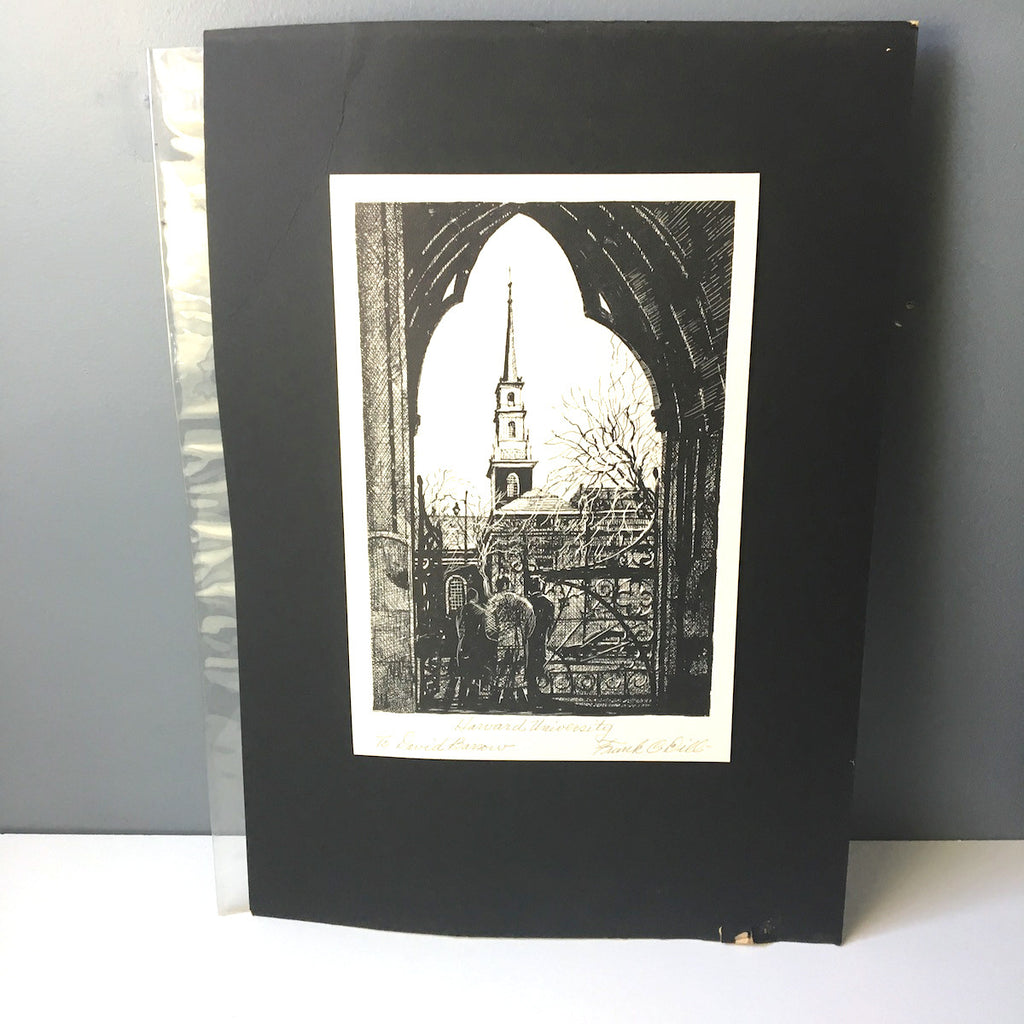 Frank C. Dill signed Harvard University lithograph - pen and ink by listed Texas artist - NextStage Vintage