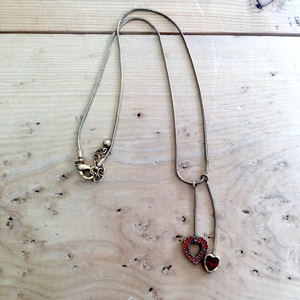Patricia Locke heart necklace - snake chain with two heart dangles - choker length - NextStage Vintage