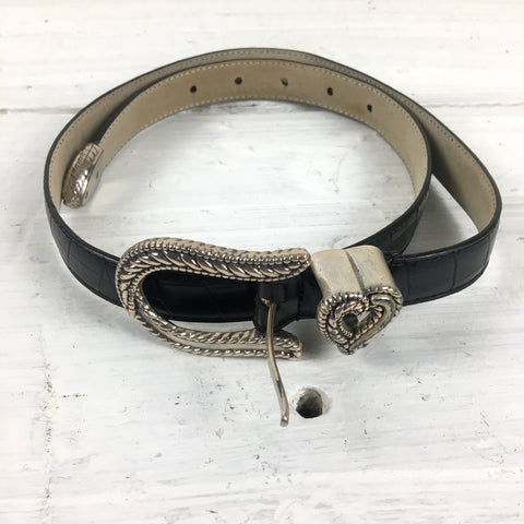 Galaxy USA black leather belt with heart keeper loop - vintage accessory