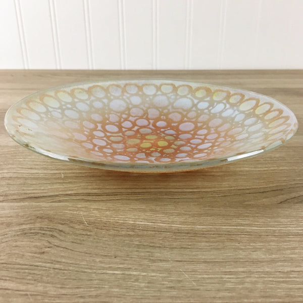 Maurice Heaton art glass circles bowl - mid century decorative art
