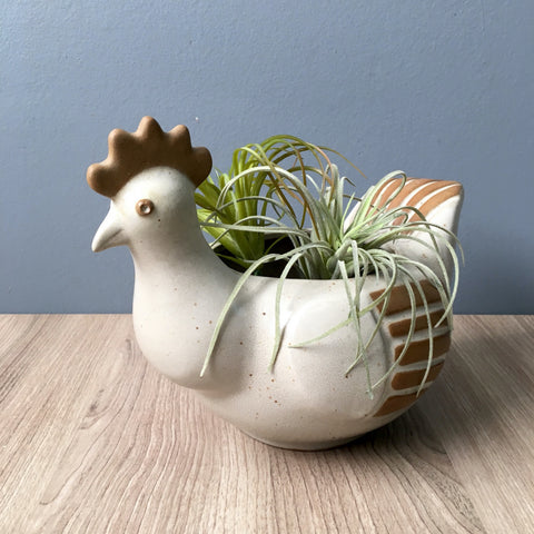 David Stewart for Lion's Valley pottery chicken planter - 1960s bohemian decor