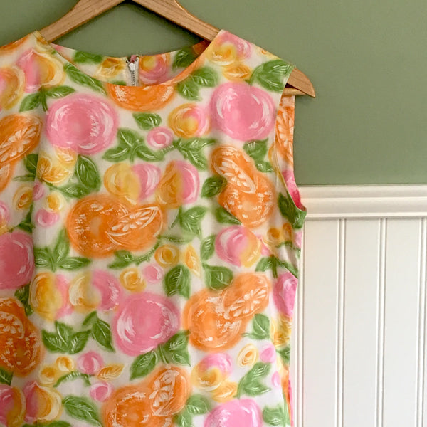 Herbcraft sleeveless A-line shift - size small - 1960s vintage bright citrus print dress - NextStage Vintage