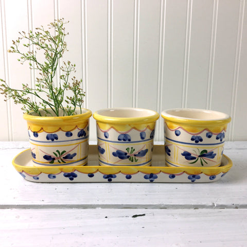 Herb planters on a saucer tray - set of 3 painted vintage plant pots - NextStage Vintage