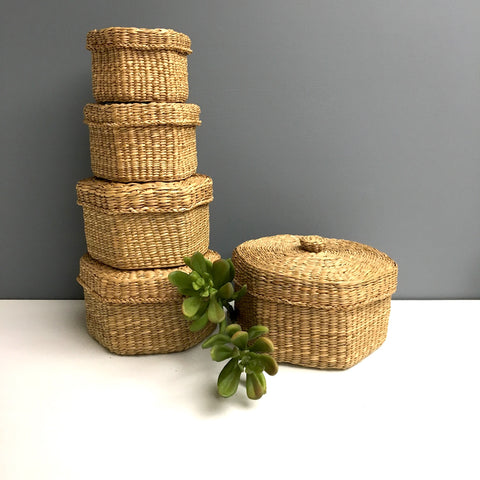 Nesting seagrass hexagonal baskets - set of 5 bohemian baskets