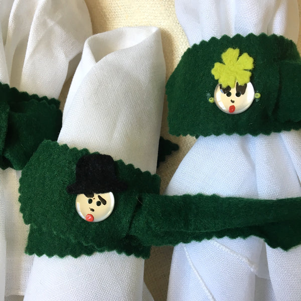 His and hers napkin rings - set of 12 - vintage felt table fun