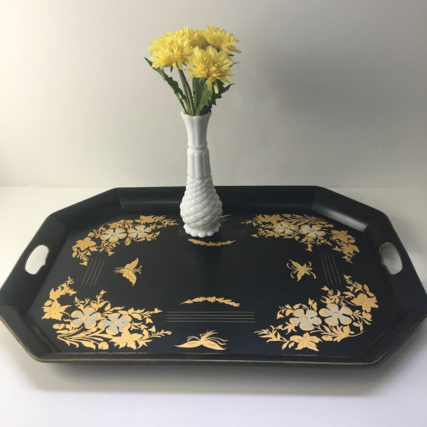Hitchcock Chair Co. tole painted serving tray - black and gold - 1950s - NextStage Vintage