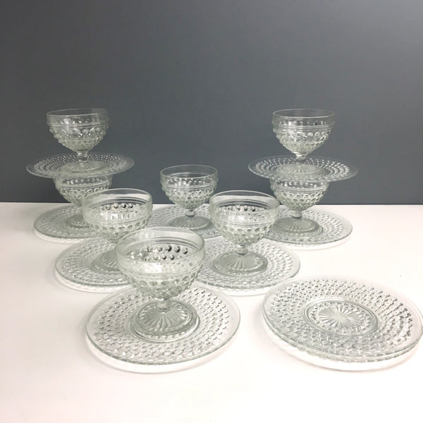 Anchor Hocking Hobnail cocktail/sherbet cups and side plates - set of 8 - 1930s vintage - NextStage Vintage