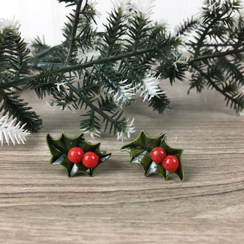 Holly leaf and berries vintage screw back earrings - 1950s vintage