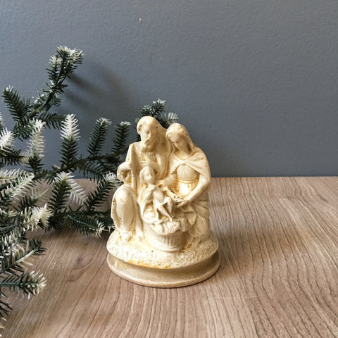 Holy family chalkware figurine - vintage religious statue