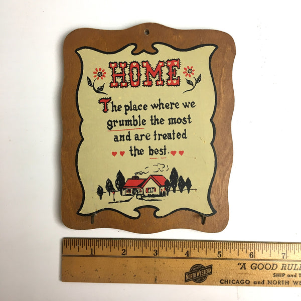 1950s Home novelty sign and key holder - retro kitsch humor - NextStage Vintage