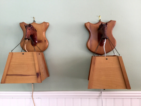Carved wood horse wall lights - a pair - handcrafted vintage lighting - 1960s - NextStage Vintage