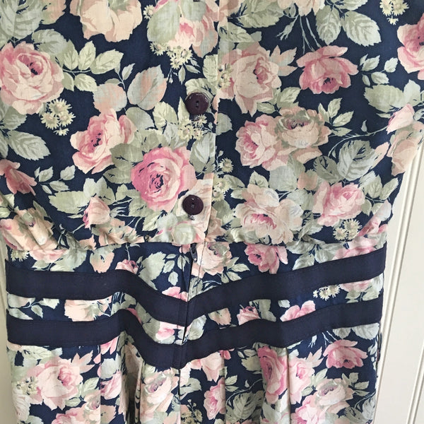 Jessica Howard navy rose print day dress - size XS - vintage 1980s - NextStage Vintage