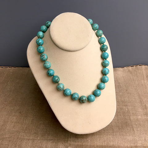 "Aqua blue dyed howlite necklace - 18"" - NextStage Vintage"
