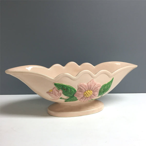 "Hull Art Pottery magnolia console bowl - H-23-13"" - 1940s vintage planter vase - NextStage Vintage"